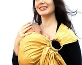 RESERVED - Ring Sling Baby Carrier Dupioni Silk Gold Rush Pleated - Made to Order