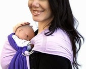 Ring Sling Baby Carrier Gauze Double-layer Two-tone Purple Pleated - Standard or Petite length only - Ready to Ship in Standard