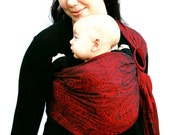 Baby Carrier Ring Sling Black and Red Jacquard Phantasm - BabyEtte - Ready to Ship in Tall length