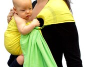 Ring Sling Baby Carrier Gauze Double-layer Two-tone Lemon Lime Pleated - Standard or Petite length only - Ready to ship in Standard length