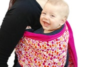 Ring Sling Baby Carrier Gauze Double-layer Bright Fuchsia and Bubbles Pleated - Ready to Ship in Tall Length but can be ordered any length
