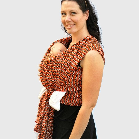 End of Year SALE Italian Fashionista Orange and Brown Wrap Baby Carrier