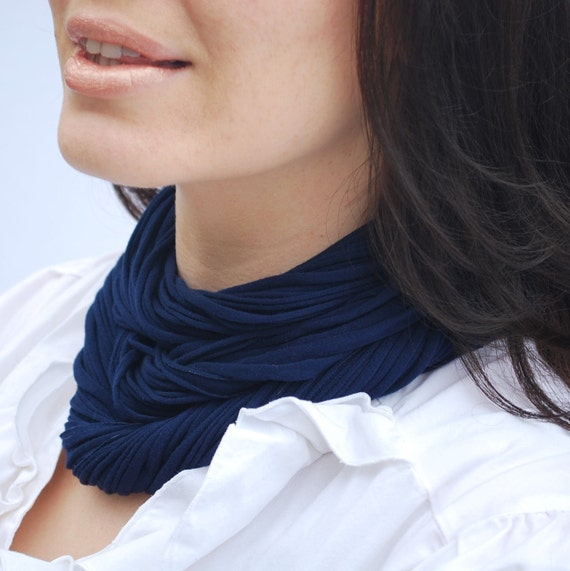 Fabric Necklace Jersey Scarf Infinity Scarf Cowl Royal Blue Sapphire NeckScape Luxe - Ready to Ship