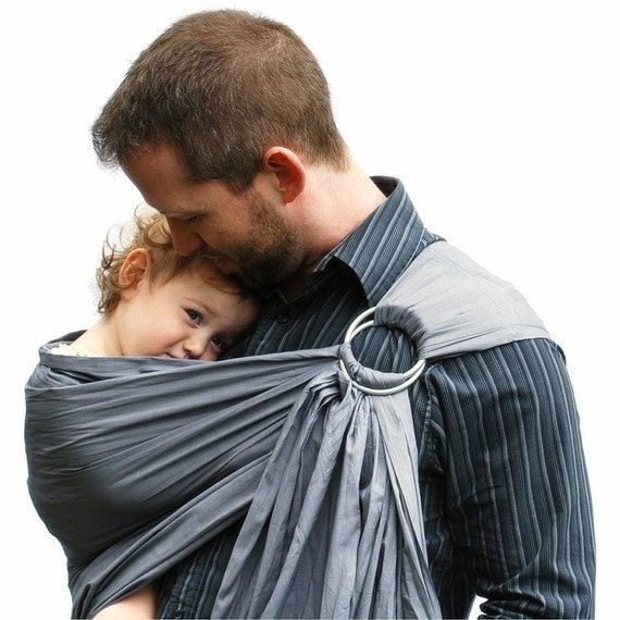 Baby carrier sling daddy ring sling pewter gray superwide for Daddy carrier