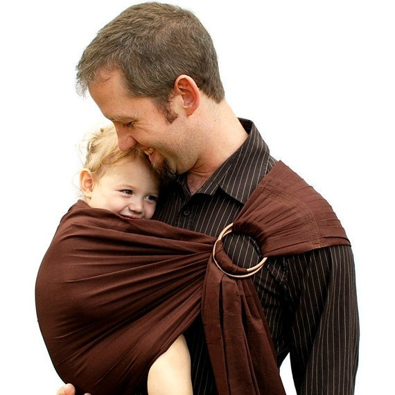Ring sling baby carrier daddy carrier cocoa brown superwide for Daddy carrier