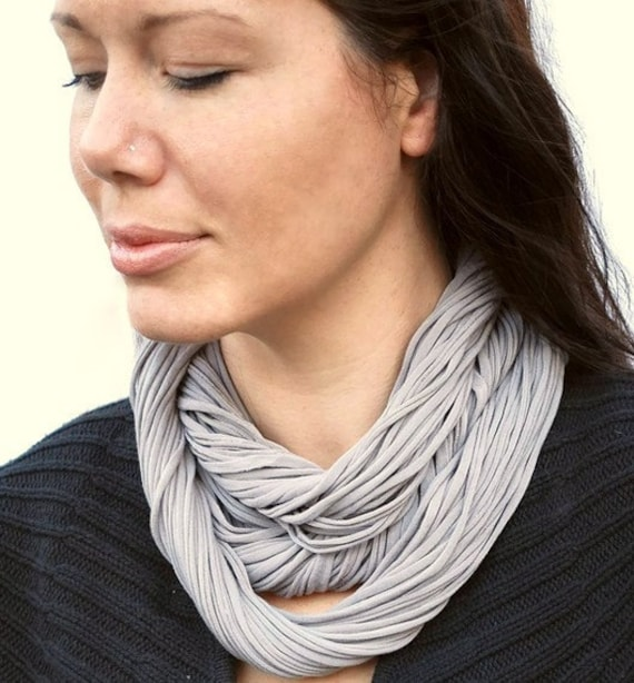 Fabric Necklace Jersey Scarf Infinity Cowl Soft Pewter Dove Gray NeckScape Luxe
