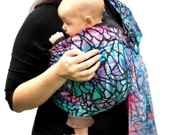 Ring Sling Baby Carrier Stained Glass Batik extra Superwide - Ready to Ship in Tall Length