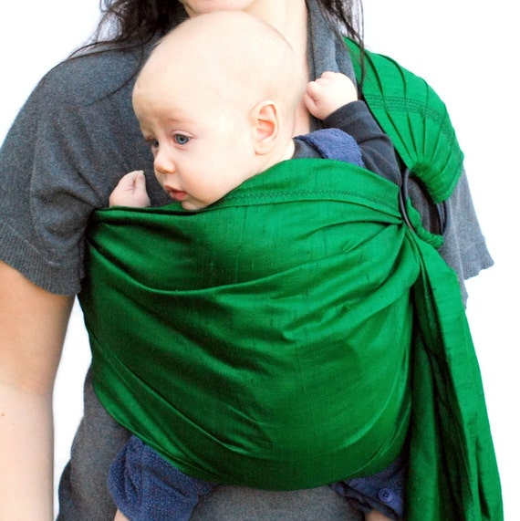 Baby Carrier Ring Sling Silk Dupioni Emerald Green Pleated - Ready to Ship in Any Length