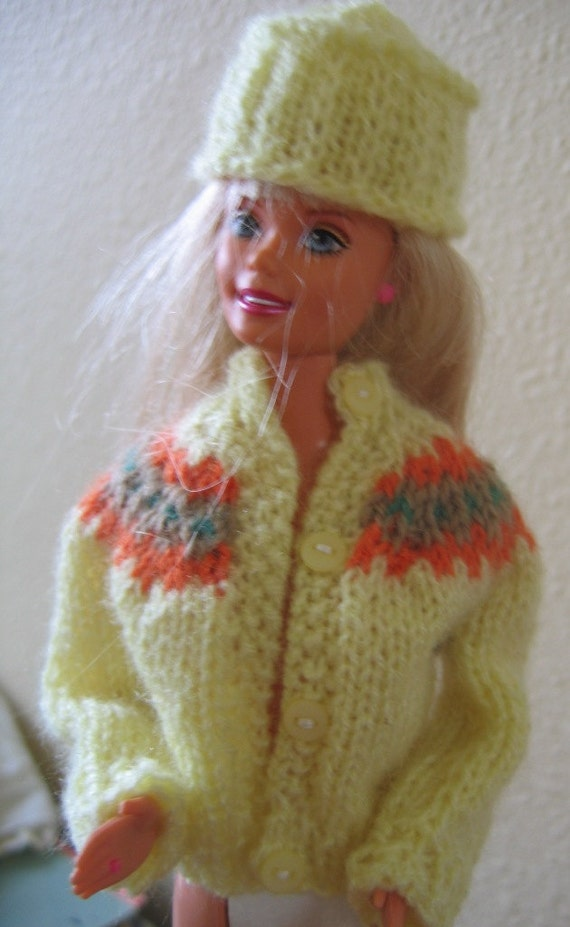 Knitting Pattern Barbie Jumper : Barbie Doll Clothes Pattern Yoke Sweater by Love2KnitDollClothes
