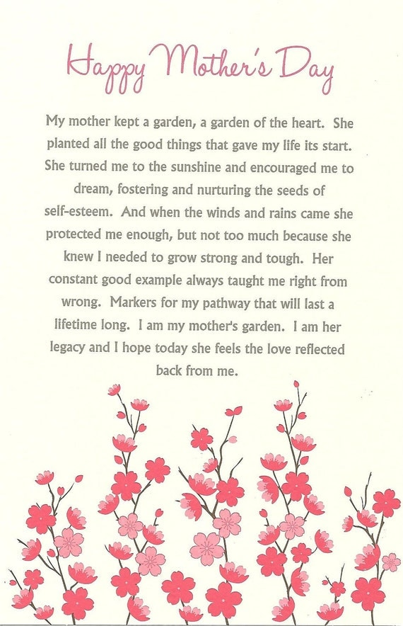 Mother's Day Card Cherry Blossom Mothers Day Card Pink