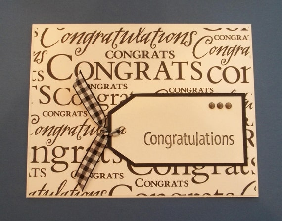Handmade Congratulations Card / Great for Graduation, new job, new home and more
