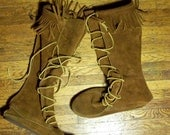 Leather High Top moccasins shoes