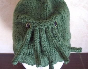 Made to order - Cthlulhu Hat - A warm and washable sweater for your head - You choose eye color