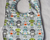Gray Robot factory baby bib. Last One