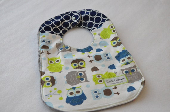 Blue, green, and Gray cute owls baby boy bib. Soft and absorbent. 2 for 15 or 3 for 21 see my shop for listings