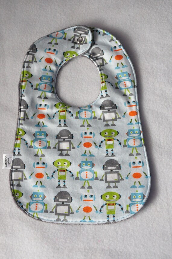 Gray Robot factory baby bib. Last One