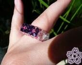 swarovski ring (3 flowers purple)