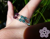 Swarovski flowers ring (purple, blue and silver)
