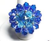 Swarovski cabochon ring (blue)