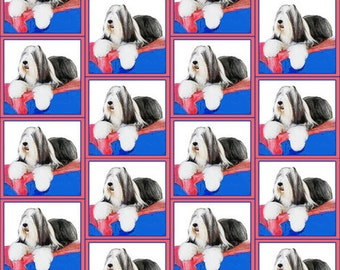 Bearded collie Red white, and blue cotton fabric