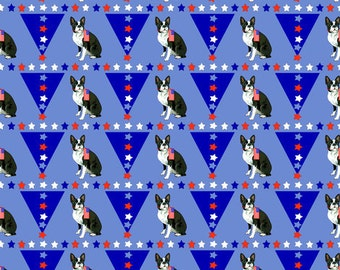 Boston Terrier with flag fabric