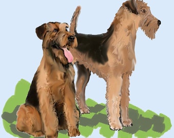 Airedale terrier fabric