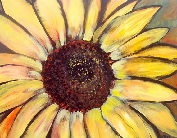 Sunflower fabric large repeating pattern