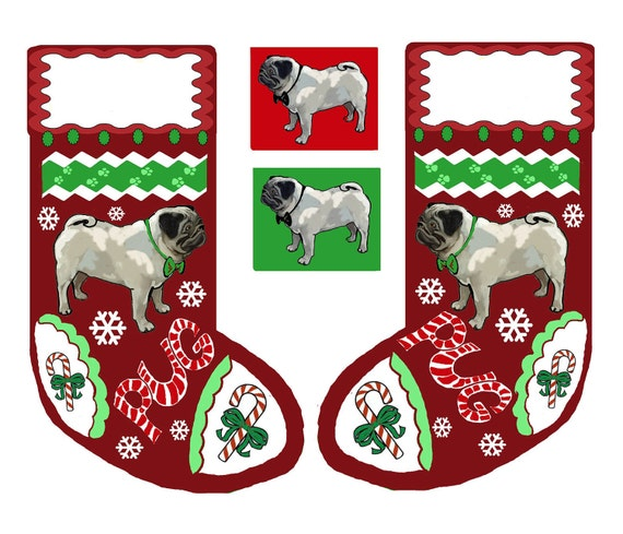 cut and sew  PUG Christmas stocking