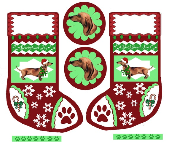 Cut and Sew Dachshund Christmas Stocking