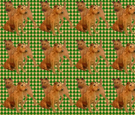 Irish terriers with shamrocks fabric