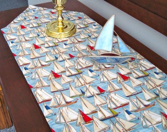 Sailboat Table Runner 72 inch Reversible with White Sails marine blue nautical table runner Yachts Sailing Table Runner