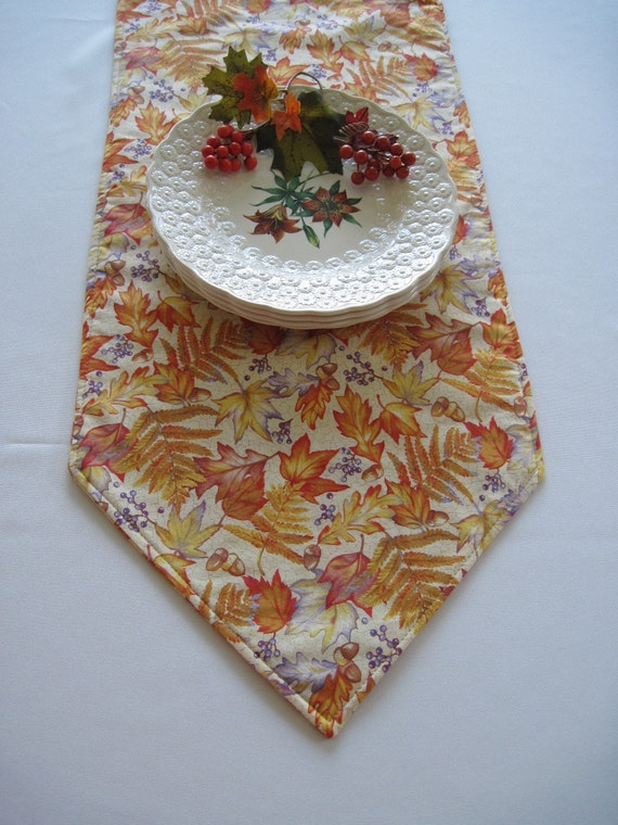 """SALE Fall Runner 54"""" Oak and Maple Leaves in Autumn Oranges and Yellows Reversible 54 inch Table Runner"""