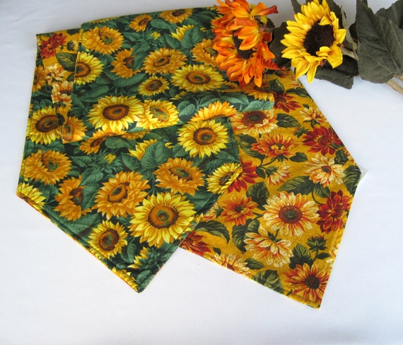 Sunflower Table Runner 90 Inch Reversible Green and Yellow