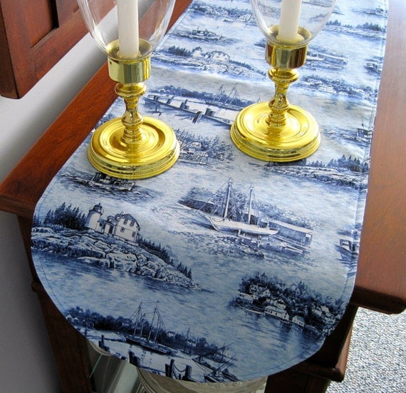 Nautical Sailboat Table Runner 36 inch Reversible Lighthouse table runner Seashore Table runner Nautical blue table runner