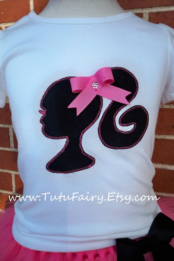 Black pink barbie silhouette applique shirt with bow and for Black barbie t shirts