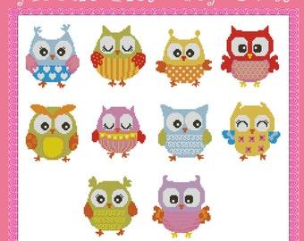 Hootie Pies Baby Owls Minis Cross Stitch PDF Chart