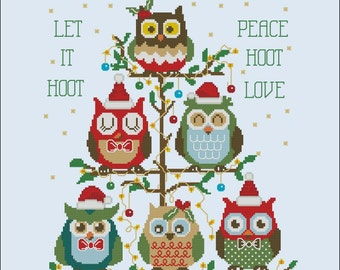 Hooties Christmas Tree (Customizable) Cross Stitch PDF Chart