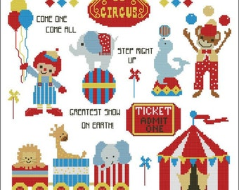 A Day at the Circus Cross Stitch PDF Chart