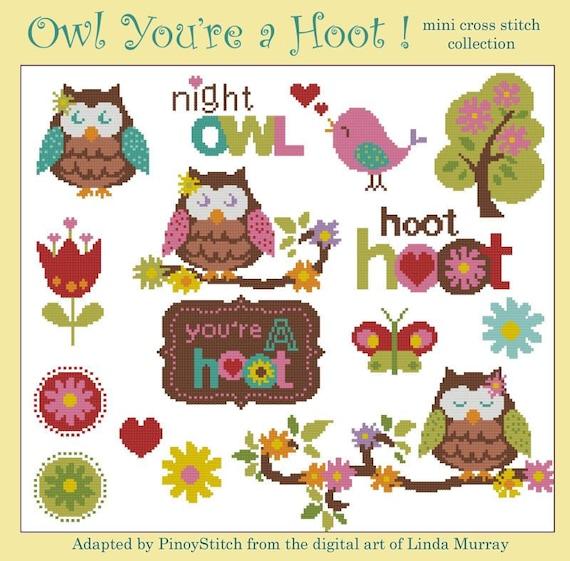 Owl You're a Hoot  Minis Cross Stitch PDF Chart