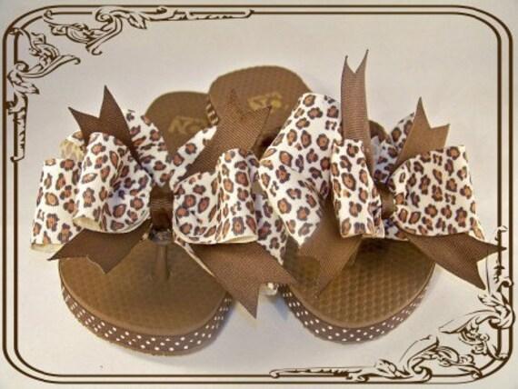 WILD CAT Boutique Leopard flip flops.  Adult and Childrens choose your size