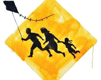 BANKSY Kite Runners Caution Sign - Banksy U.K. Street Graffiti Artist T-shirt