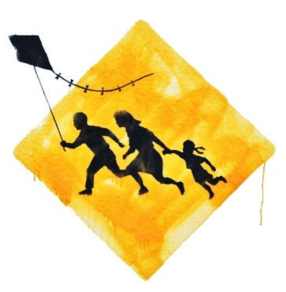 BANKSY Kite Runners Caution Sign - Banksy U.K. Street Graffiti Artist T-shirt