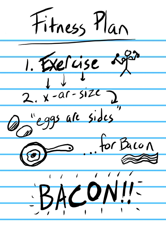 Exercise Fitness Plan Funny Custom T Shirt BACON