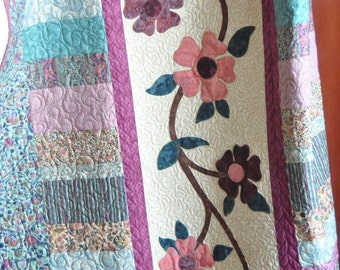 Coupon code, springquiltsale, 15% off, Quilt, Cherry Blossoms Quilt, Lap Quilt, Wall Quilt, 67x75