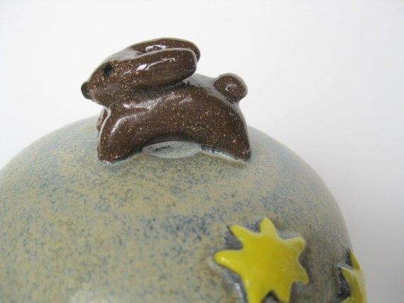 Round rustic blue pot / jar with a bunny, moon and stars on the lid