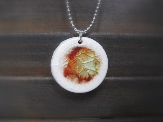 Recycles glass and porcelain fused necklace, IN STOCK