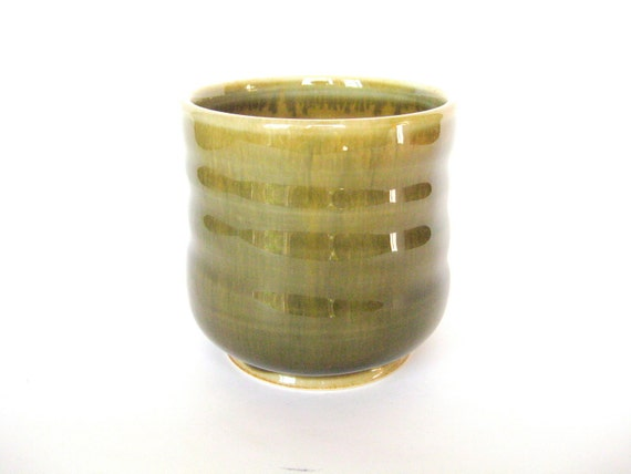 Mossy green and yellow altered shape tumbler, IN STOCK