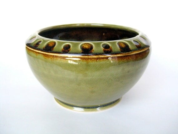 Green vase / planter with dark brown dots, IN STOCK