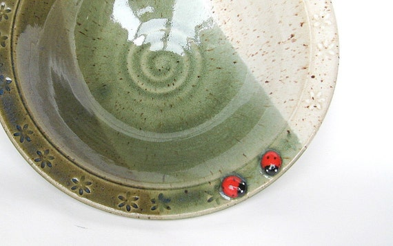 RESERVED for LIZ - Large serving bowl in oatmeal and green and two ladybugs