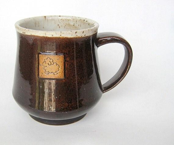 Sheep mug in brown and oatmeal